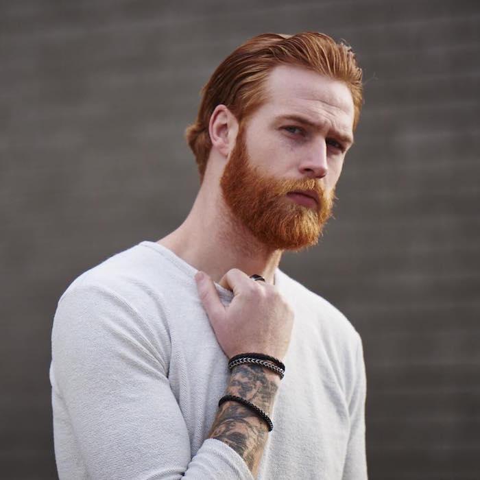 comment avoir une vrai barbe rousse homme roux hipster tatoué