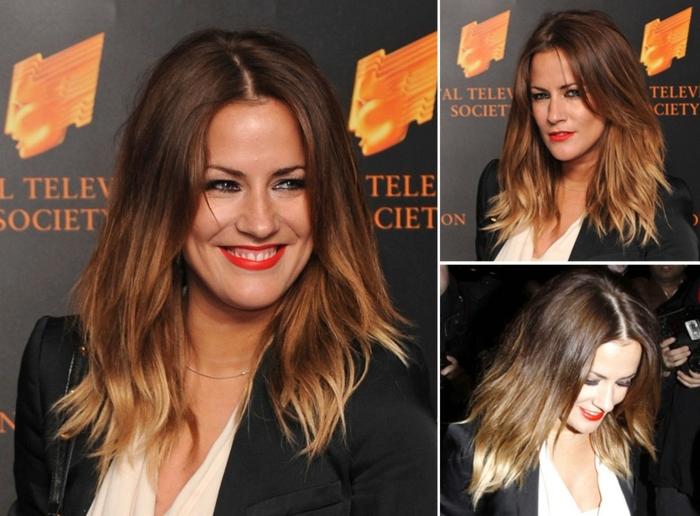 balayage blond sur brune, longueurs des cheveux éclaircies, costume et maquillage joli