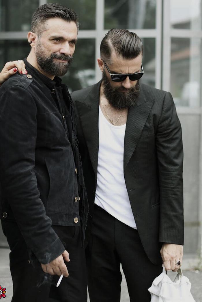 combien de temps pour avoir une belle barbe cou hommes hipsters coupe pompadour