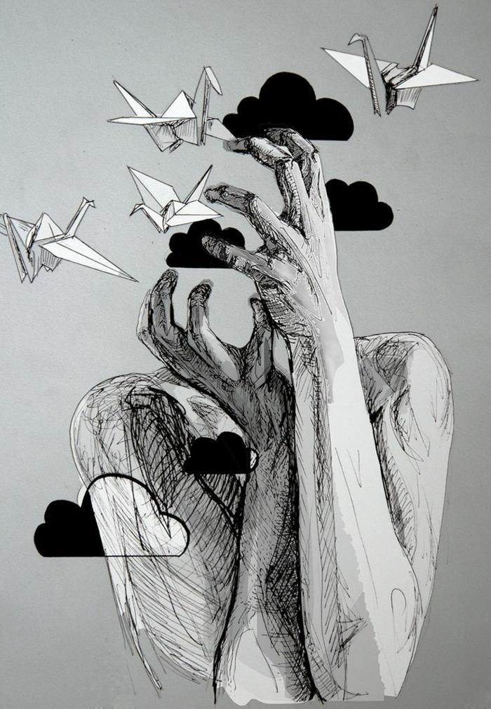 La tête dans les nuages dessin abstrait noir et blanc dessin magnifique oiseaux en papier mains ombres bien dessiné
