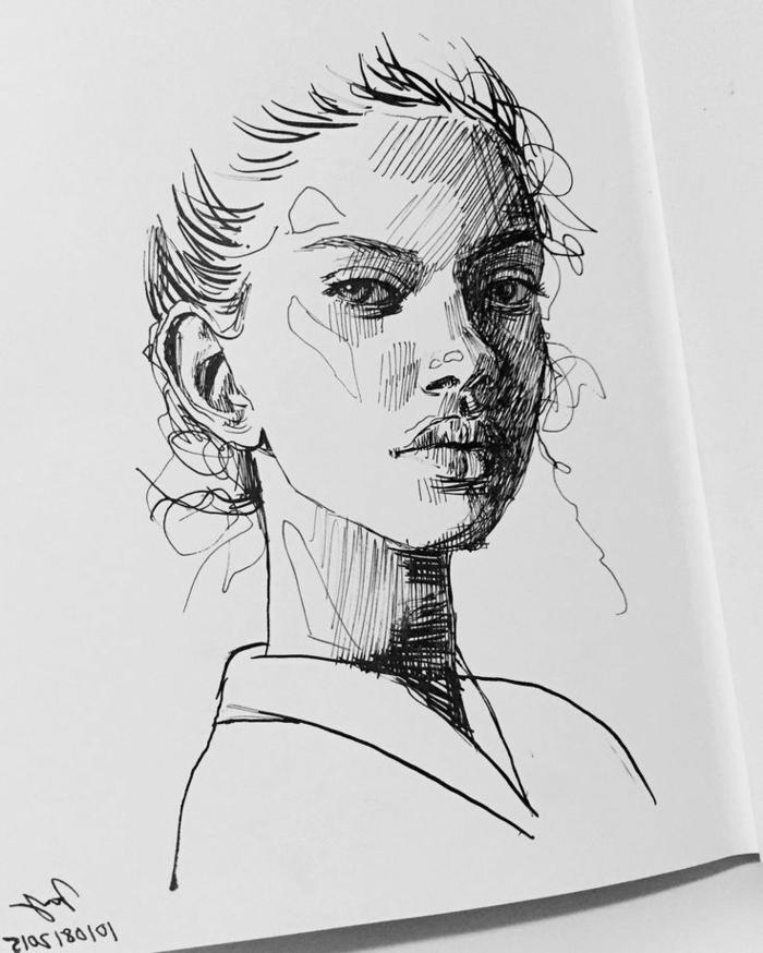 Dessin fille noir et blanc bien dessiné dessin bien fait photo de dessin femme noir crayon sur papier blanc dessin