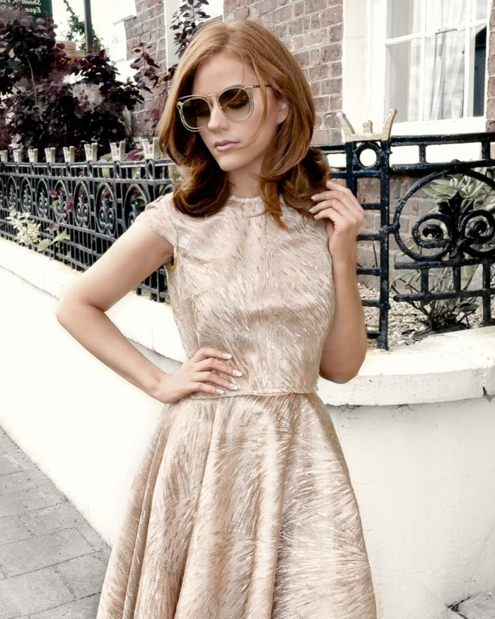 Robe dorée robe de mariée dorée robe vintage courte mariage invitée idée tenue