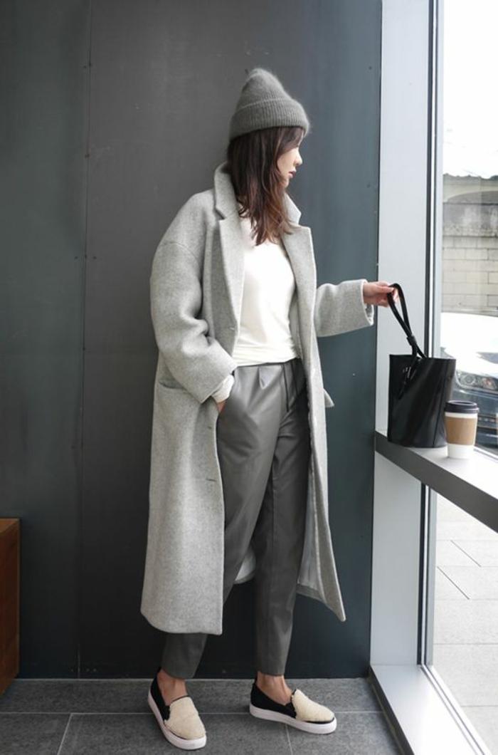 Jolie tenue cool chic en gris tenue chic décontractée habillement comment s habiller en automne