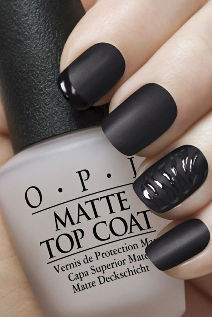 Superbe nair art black matte nails shiny tips comment faire son manucure noire matte avec brillant
