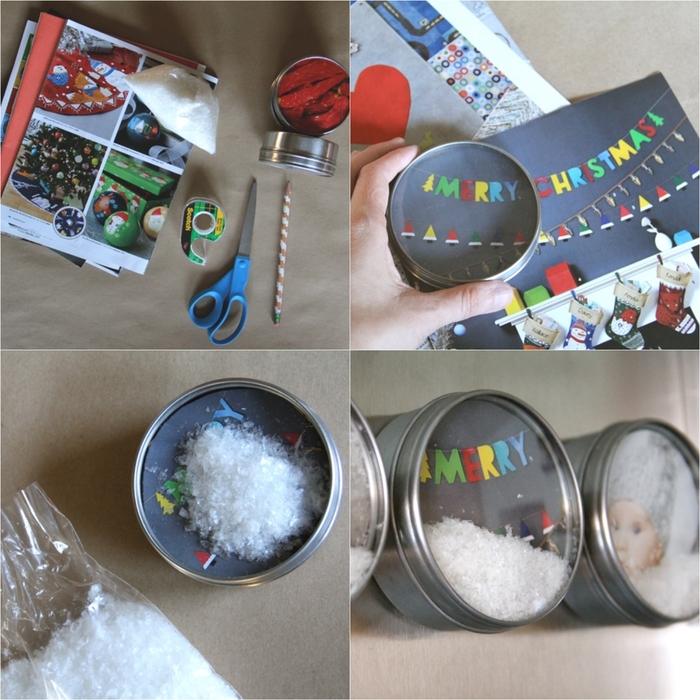 décorations de noë à réaliser soi-même avec des boîtes magnétiques rondes à fond décoré d'image à motif festif