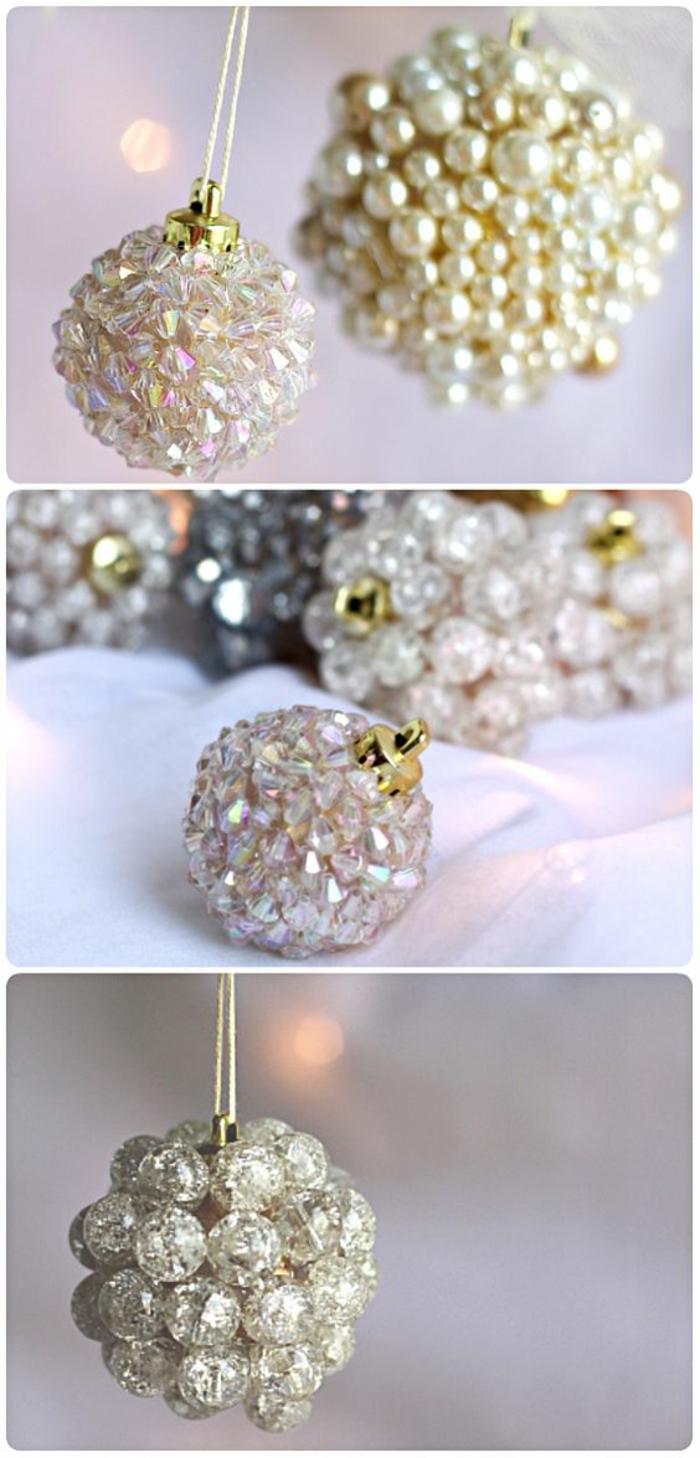 deco de noel a faire soi meme avec des boules en perles blanches et des perles en verre effets irisés, décoration élégante
