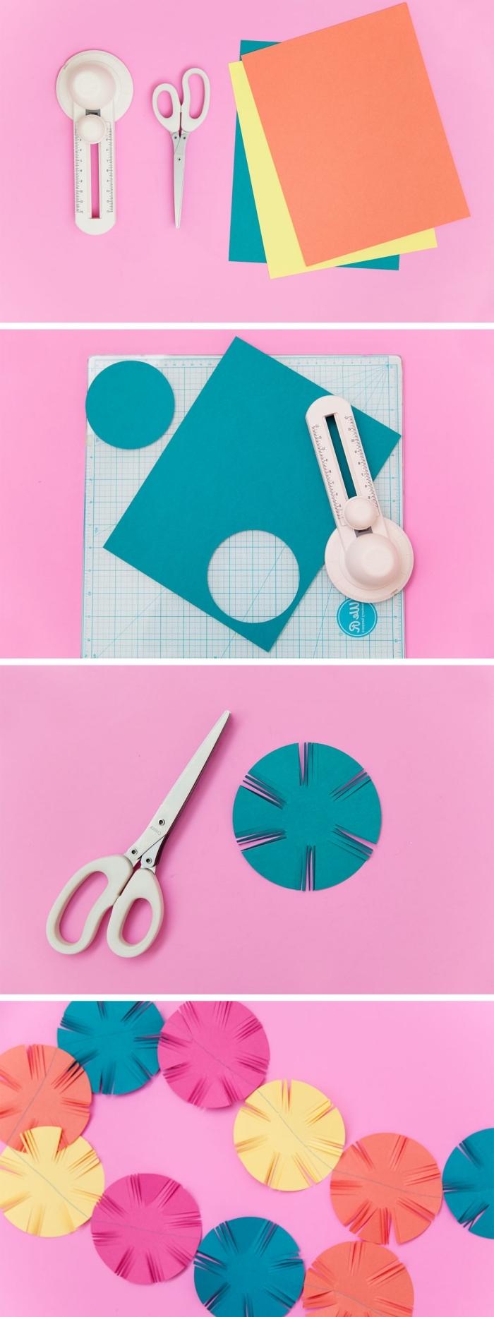 art du papier, étapes à suivre pour réaliser une décoration de fête multicolore avec cercles en papier