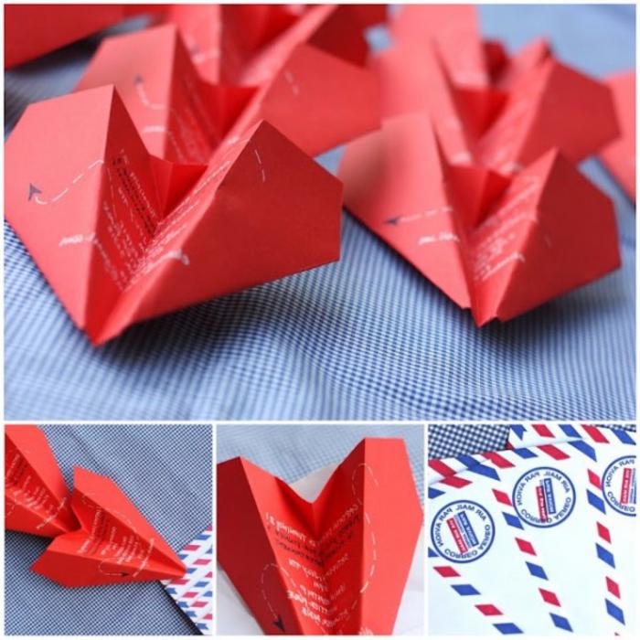 de jolis avions en papier avec messages d amour version à réaliser soi-même pour la saint-valentin