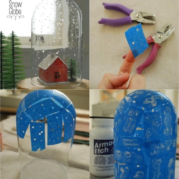 bricolage facile d une grande cloche en verre parsemée de flocons de neige en peinture