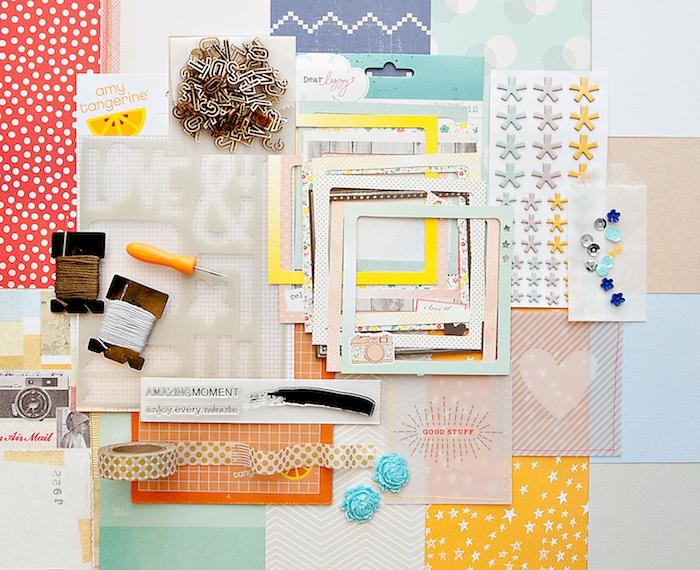 idée cadeau ado fille, kit scrapbooking pour customiser son agendam stickers, décorations, ficelle, washi tape