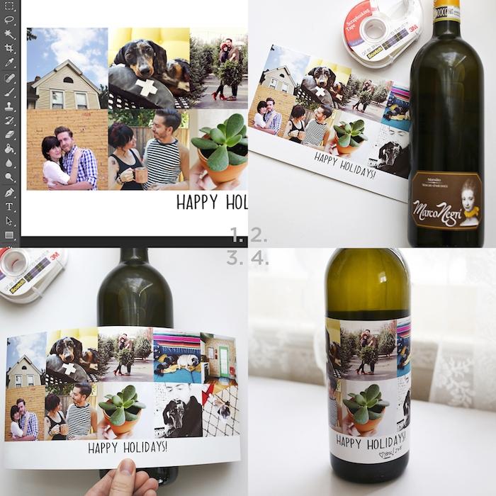 idée cadeau femme 30 ans et cadeau pour noel un sticker de photos instagram sur une bouteille de vin