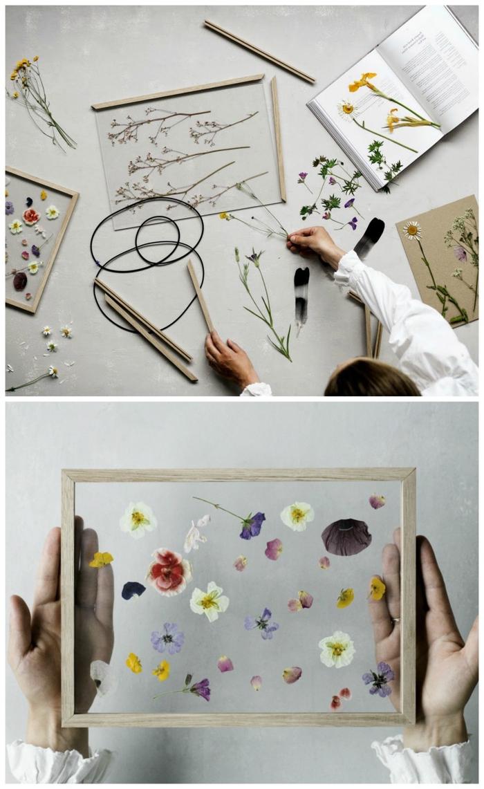 bricolage facile d'un cadre vegetal flottant à encadrement en bois vintage avec de jolies pétales séchées