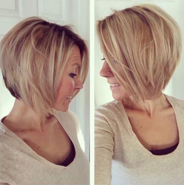 coupe au carré en dégradé plongeant blond