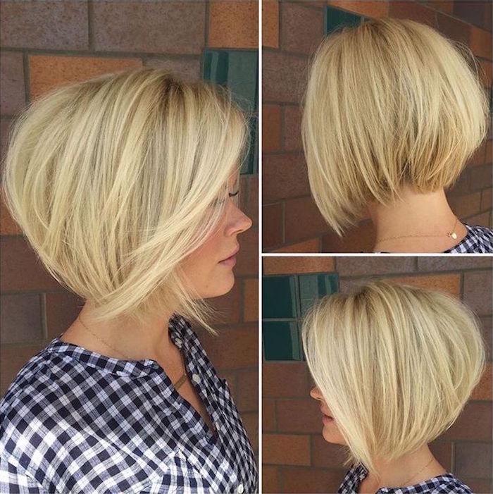 coiffure femme au carré en dégradé blond platine