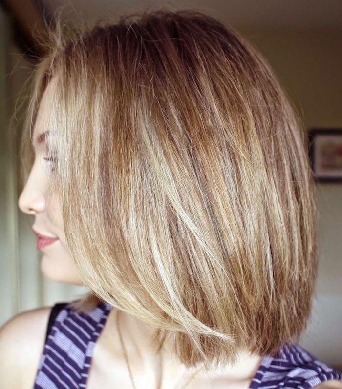 carré long blond plongeant coiffure femme