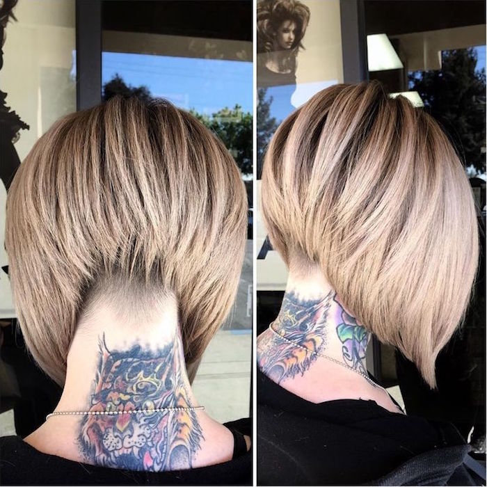 cheveux carré plongeant modèle coiffure tendance femme blonde