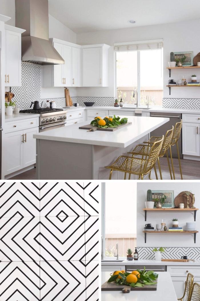 carreaux de ciment credence en blanc et noir auxx motifs géométriques, cuisine en blanc et taupe avec finitions métalliques