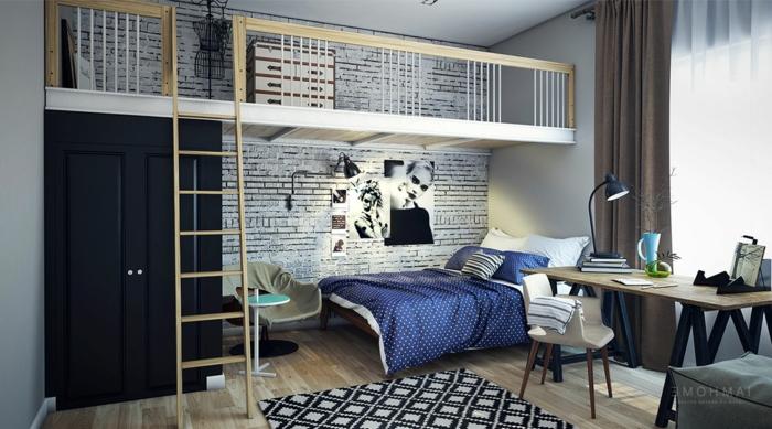 chambre de fille design contemporain, chambre à coucher avec petit espace mezzanine