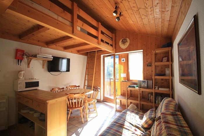 joli peti studio avec un lit mezzaine avec petite échelle, plafond en bois