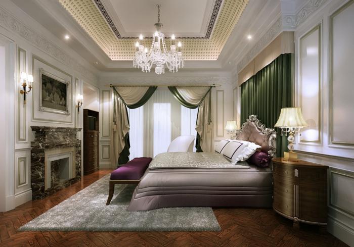 chambre baroque, tapis gris moelleux, banquette de lit pourpre, commode en forme courbée