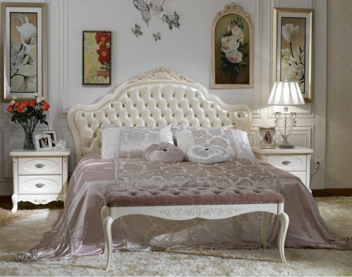 chambre de luxe moderne, grande tête de lit capitonnée, chevets blancs, peintures murales