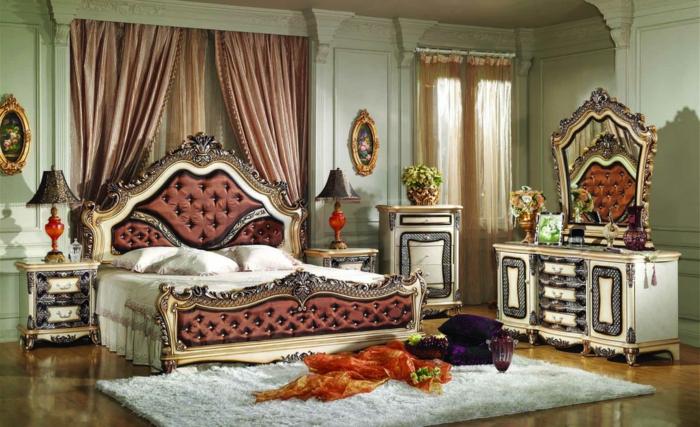 chambre de luxe moderne, peinture murale vert pâle, tapis rectangulaire, meubles luxueux