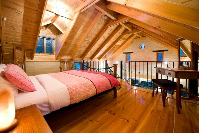 chambre avec mezzanine, deuxième niveau de chalet en bos, chambre attique