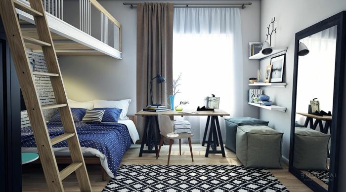 chambre avec mezzanine, petit bureau industriel, tapis géométrique, grand miroir