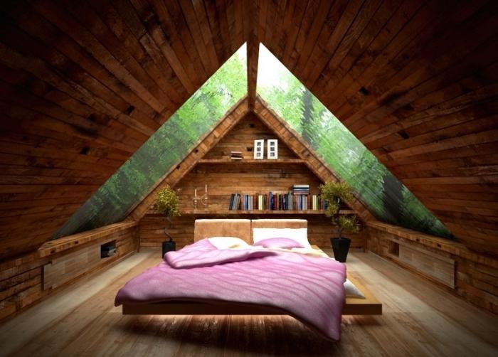 decoration d interieur, idée comment aménager une chambre à coucher au grenier en bois avec grandes fenêtres de plafond