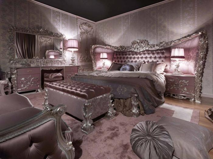 meuble argenté, couleur mauve, meubles victoriens, grand sofa de luxe, banquette de lit satinée