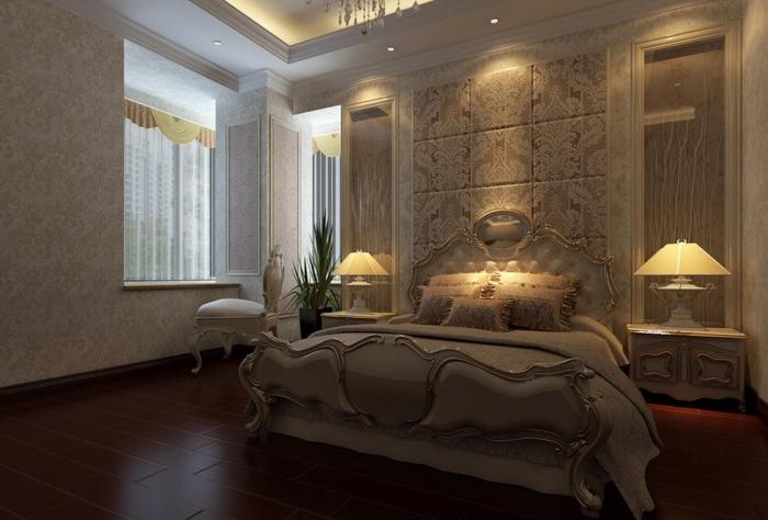 chambre romantique, éclairage magnétique, grand lit baroque, lampes de chevet magnifiques