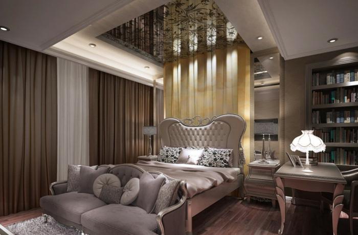 chambre romantique, sofa deux places gris, biblothèque intégrée, rideaux beiges