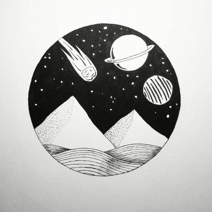 Génial idée art dessin fille noir et blanc les dessins noir et blanc cercle paysage abstrait dedans