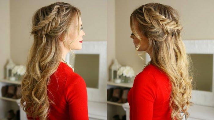 tresse en épi de côté et cheveux lâchés, idée de coiffure cheveux long avec des mèches encadrant le visage, pull rouge
