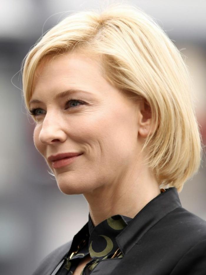 coiffure cheveux carré de Cate Blanchett, frange de côté, maquillage simple