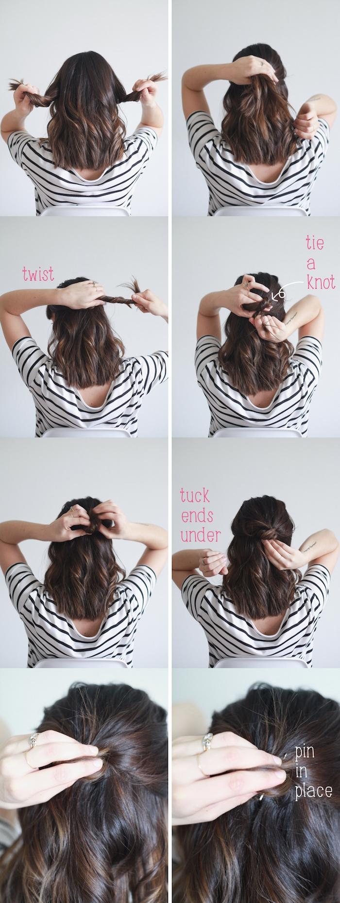 tutoriel pour faire une coiffure facile cheveux mi long, mèches de devant ramenées en arrière et attachées avec une barrette, idée de coiffure de noël