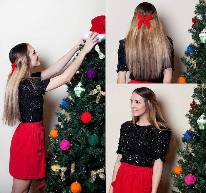 exemple de coiffure facile de noel cheveux longs, mèches de devant ramenées en arrière et serrées d un noeud rouge, tenue noir et rouge, sapin de noel décoré
