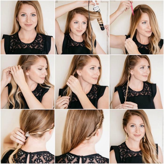 tuto de coiffure pour noel, cheveux lings ondulés avec fer à boucler et mèche de devant ramené en arrière, robe noire