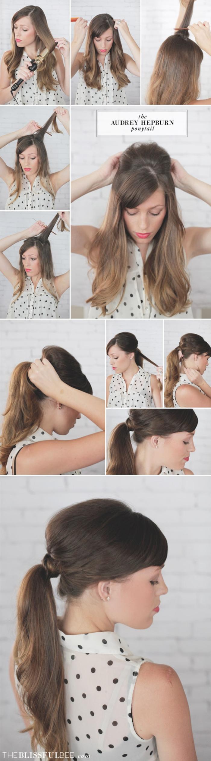 une coiffure femme année 50 inspirée par la queue-de-cheval ondulée et légèrement bombée d'audrey hepburn