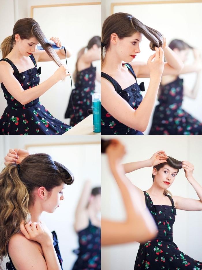 un tuto coiffure rockabilly facile à réaliser à l aide d un lisseur et de quelques bobby pins