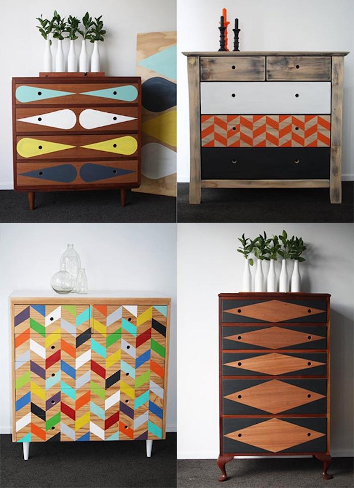 meubles relookés, comment peindre un meuble, à motifs geometriques colorées, idée comment customiser son mobilier