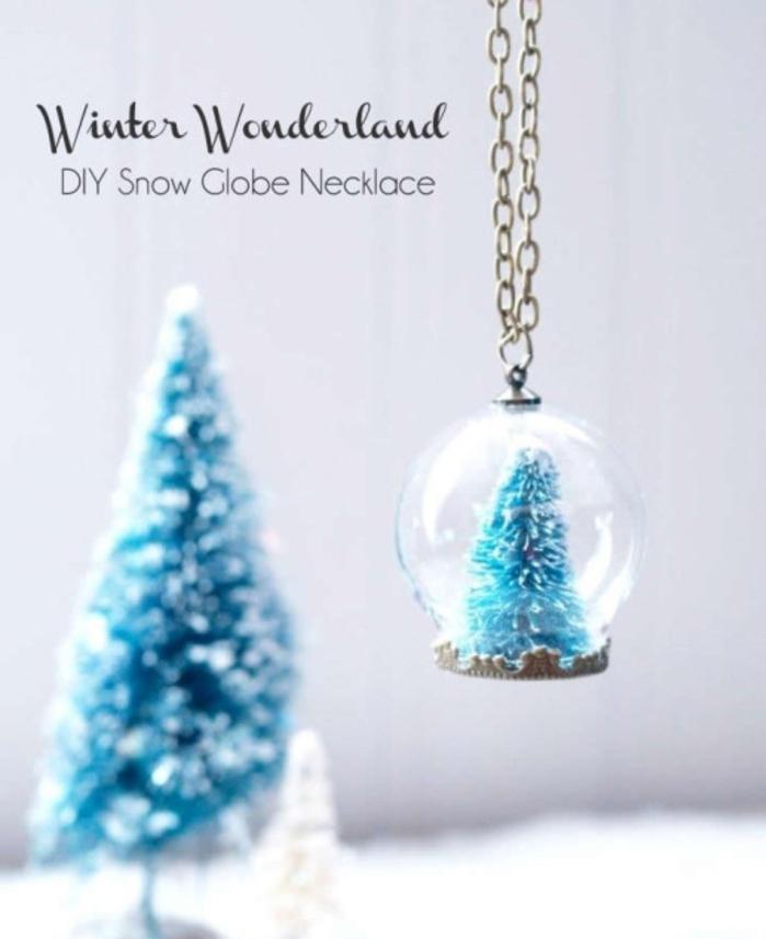 comment faire une boule à neige pendentif, idée de collier diy original à offrir comme cadeau de noël personnalisé