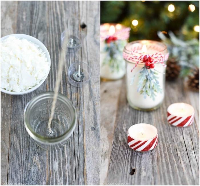 comment faire des bougies dans un pot en verre, cire, mèches à pied, branches de houx, cadeau de noel pour femme