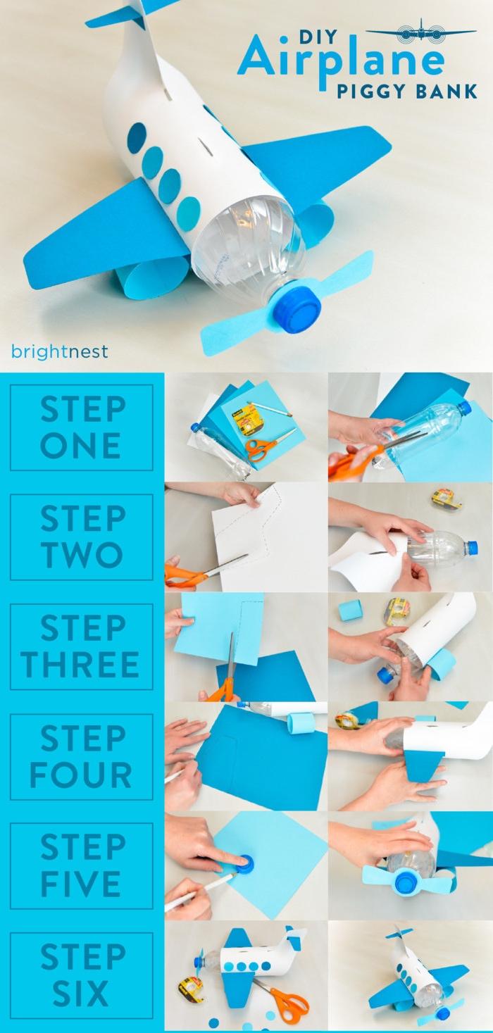 comment fabriquer un avion en papier et bouteille en plastique récupérée, bricolage enfant d'avion tirelire