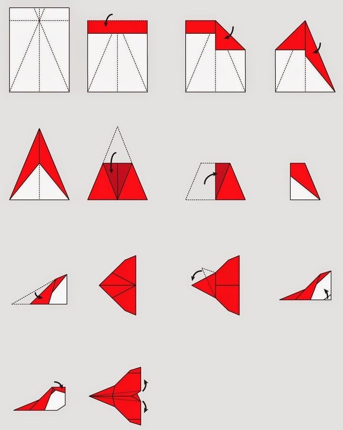 un schéma de pliage avion papier pour réaliser un modèle d'avion facile et original qui vole aussi très bien
