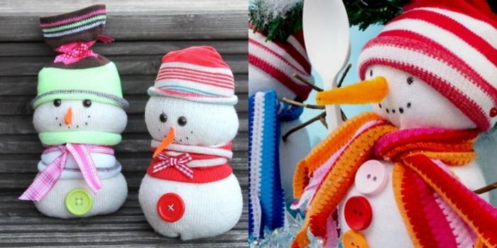activité manuelle bonhomme de neige, doudou en chaussette blanche avec bonnet vert et écharpe rose