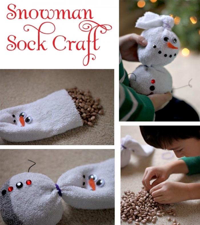 decoration de noel fait main, tutoriel pour réaliser un bonhomme de neige Olaf avec haricots et chaussure