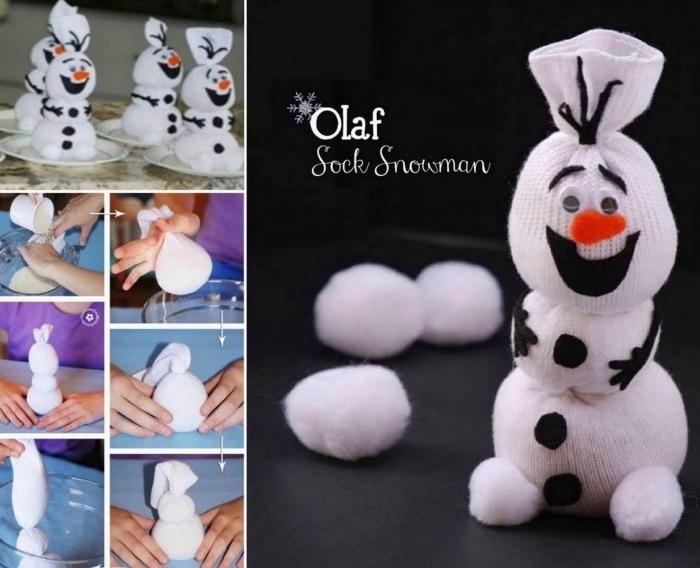 tutoriel pour faire une figurine à design Olaf avec chaussette et coton, projet diy pour les enfants
