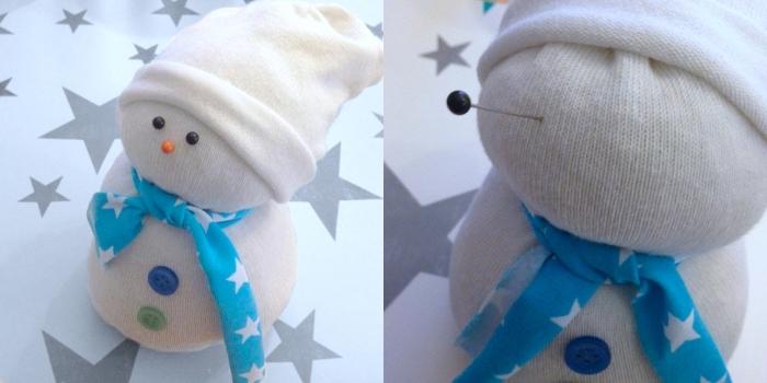 décoration de noel à faire soi même, figurine blanche avec écharpe bleue à étoiles blanches et yeux noirs
