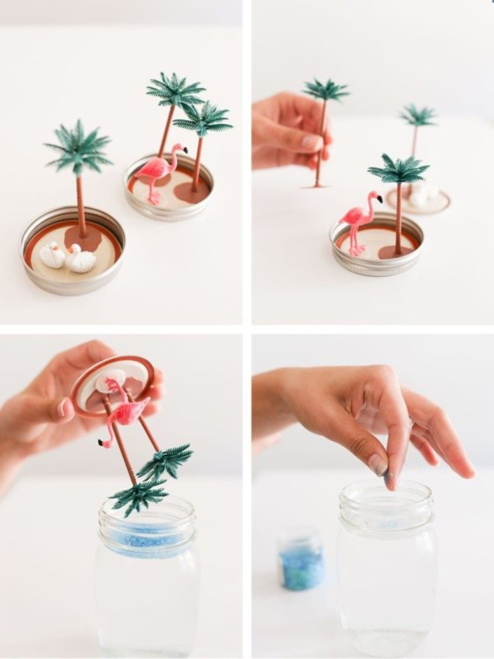 tuto pour réaliser des boules à neige d'été diy à motif tropical, déco noel à faire soi même avec des bocaux en verre recyclés